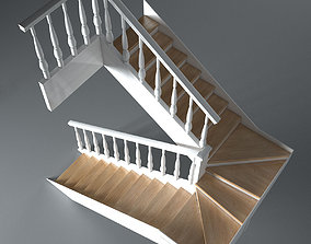interior 3D model Wooden Stairs