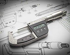 Digital Micrometer steel 3D