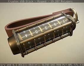 3D model Cryptex USB-Stick Rigged and Gameready