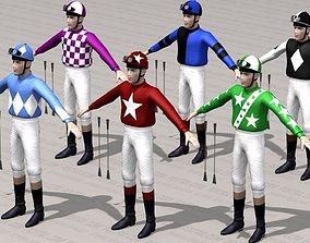 3D Jockey - Race Horse Jockey - Adult Male - 6 Textures -