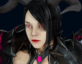 animated Demon woman Character Low-poly 3D model