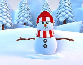 3D model Snowman with Snow Pine tree