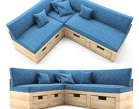Corner sofa for kitchen 3D