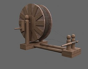 game-ready 3D Medieval Sheave - Spinning Wheel - Winder