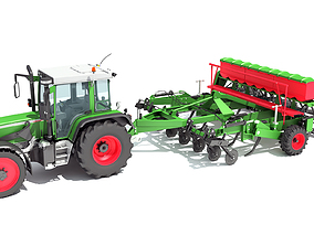 3D model Tractor with Seed Drill