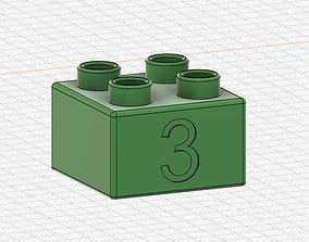 Lego Duplo compatible 2x2 3 3D printable model