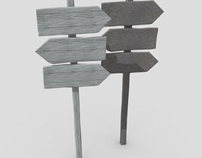 3D asset Wooden SIgn 3