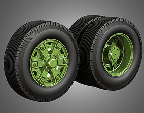 Trucks Tires and Dayton Style Rims with 6 Spoks 3D model