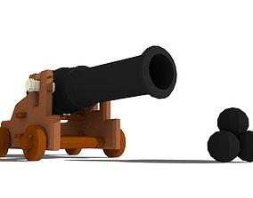low-poly cannon 3D asset