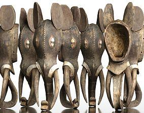 3D asset Afrikan Elephant Mask Carved Wood 52