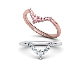 Chevron match band ring 3d model