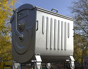 Old Metal Garbage Trash Container Low-Poly 3D model