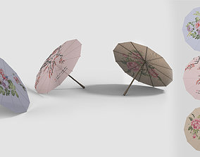 Chinese style umbrellas set 3D model