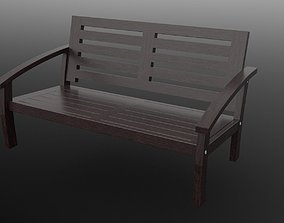 Loveseat outdoor brown stained 3D asset