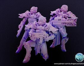 Modular Battle Nuns set 1 28mm 3D printable model 2