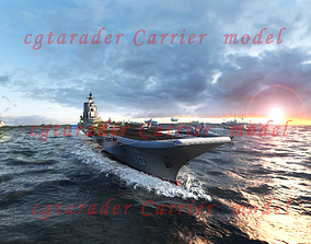 3D asset animated aircraft carrier
