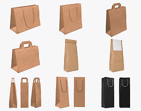 craft paper package bag with rope handle label 3D