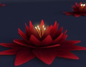 Fantasy Glowing Lotus Low Poly 3D model