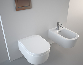 minimal Flaminia Link Bidet and Toilet 3D model