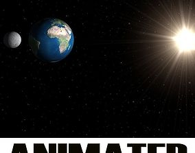 Planets Earth Moon Sun animated 3D