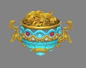 3D model Cartoon cornucopia - Gold Ingot coin bullion