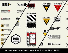3D model SCI FI Info Decals VOL 2 and Five Numeric Sets