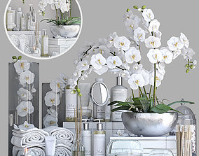 Decorative set for bath with orchid 3D