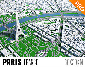 3D model Paris City And Surroundings France Low Poly VR