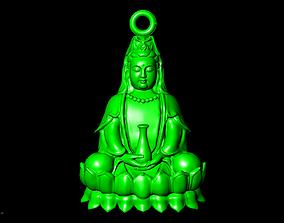silver 3D print model Buddha Guan Yin Pendant