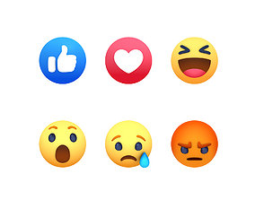 Animated Facebook Reaction Button Pack 3D asset