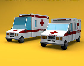 Low Poly Ambulances 3D asset