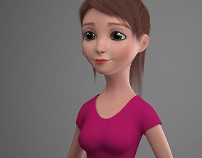 character rigged Cartoon Girl Amanda 3D model Rigged