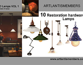 3D model Restoration Hardware collection lamps