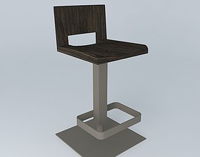 Steel and Teak Kitchen Stools 3D model