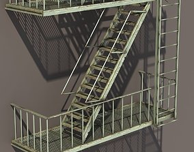 Fire Escape Stairs Low Poly 3D model
