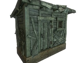 wooden shed barn 3D model low-poly