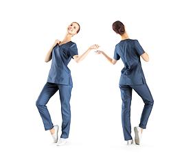 Beautiful medical nurse posing 40 3D asset