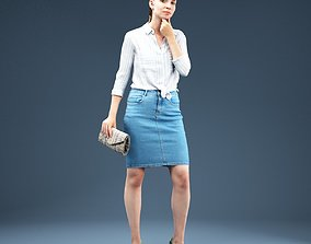 Thinking Girl in Jeans Outfit 3D asset
