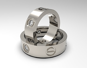 3D printable model Rings with bolt heads and diamonds