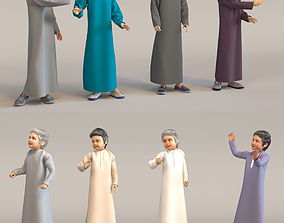 8x Arabic people real cloth simulation animated 3D model 3