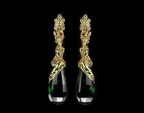 Mermaid Earrings in Gold Mermaid Jewelry 3D print model