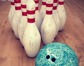 Bowling Pins Ball Set 3D model