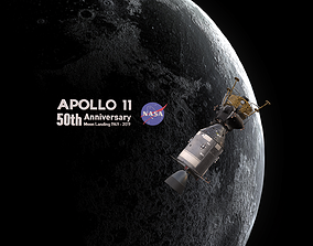 Apollo command Service module and Lunar Module 3D model