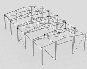 Steel hangar construction 3D model