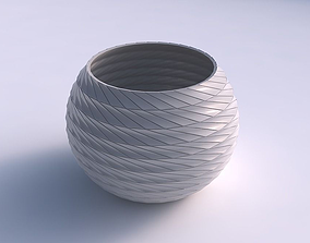 3D printable model Bowl spheric with twisted grid plates