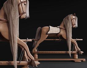 Rocking Wood plush Horse Pony chair toy Rocker 3D model 1