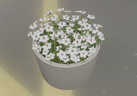 Concrete-Pipe-Pot-1000mm-with-White-Flowers-Version-2 (Blender-2.91 Eevee)