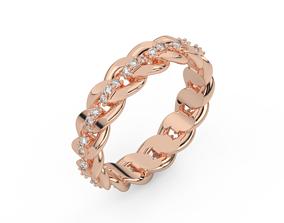 shining 3D print model diamond cuban chain ring