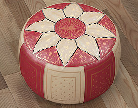 Moroccan Leather Pouffe Red 3D