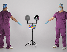 3D asset Male doctor in medical uniform ready for 1